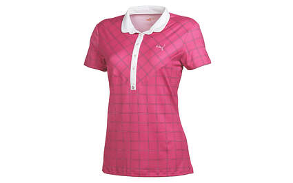 New Womens Puma Dry Cell Golf Windowpane Polo Small Fuschia 567001 MSRP $60