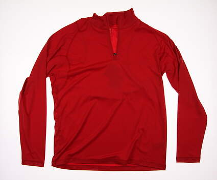 New Mens Puma Tech 1/4 Zip Popover Cresting Medium M High Risk Red MSRP $65 570470