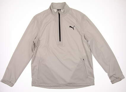 New Mens Puma Long Sleeve Rain Popover Medium M Glacier Gray MSRP $100 570499