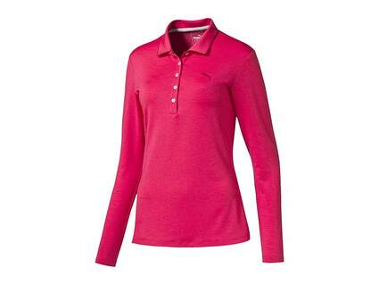 New Womens Puma Long Sleeve Polo Small S Rose Red MSRP $60 570529