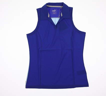 New Womens Puma Woven Block Sleeveless Polo Small S Dazzling Blue MSRP $55 570543
