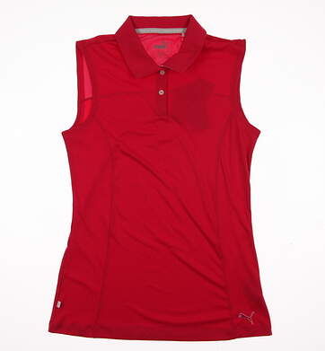 New Womens Puma Pounce Cresting Sleeveless Polo Small S Rose Red MSRP $45 570525