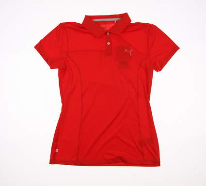 New Womens Puma Pounce Polo Small S Cherry Tomato MSRP $50 570526