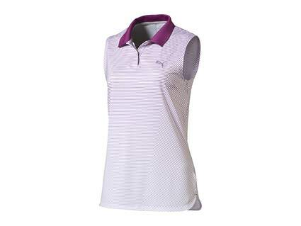 New Womens Puma 3D Stripe Sleeveless Polo Small S Purple Cactus Flower MSRP $60 570878