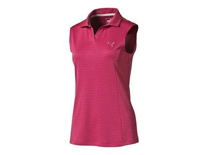 New Womens Puma Polka Stripe Sleeveless Polo Small S Rose Red MSRP $55 570538