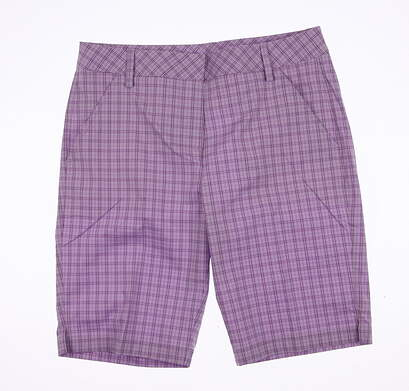 New Womens Puma Plaid Bermuda Shorts Size 4 Orchid Bloom MSRP $70 570553