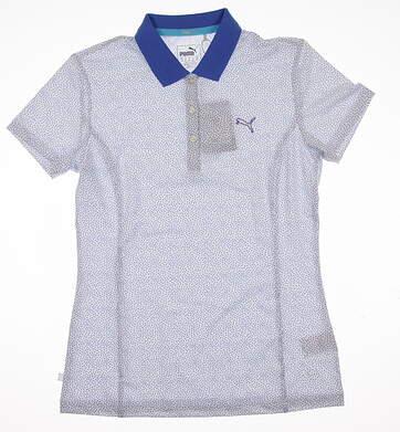 New Womens Puma Glitch Print PWRCOOL Polo Small S Bright White-Dazzling Blue MSRP $65 570541