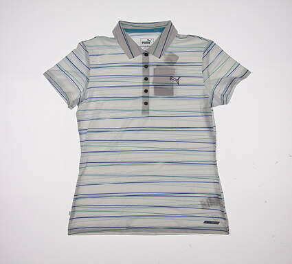 New Womens Puma Road Map Stripe PWRCOOL Polo Small S Dazzling Blue MSRP $65 570532