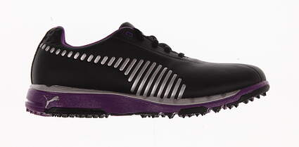 New Womens Golf Shoes Puma Faas Grip Medium 7.5 Black/Silver/Bright Violet 186226-04 MSRP $100