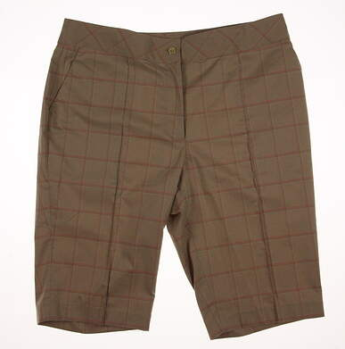 "New Womens EP Pro Golf From Afar Tour Tech 23"" Texture Plaid Shorts Size 8 Khaki/Pink (Praline Multi) MSRP $86 8341HD"