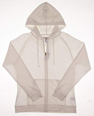New Womens Peter Millar Full Zip Hoodie Large L White MSRP $120