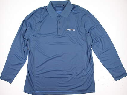 New Mens Ping Golf Long Sleeve Polo X-Large XL Blue MSRP $60