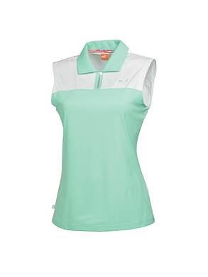 New Womens Puma Golf CB Sleeveless Polo Small S Cabbage/WhiteMSRP $60