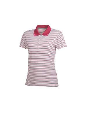 New Womens Puma Golf Road Map Polo Small S White/Cerise/Potent MSRP $65