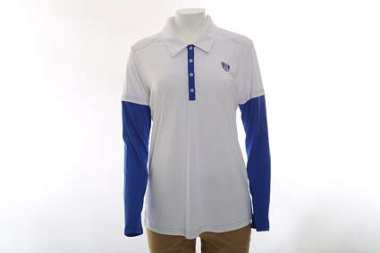 New Womens Adidas All Long Sleeve Polo Large L White MSRP $55
