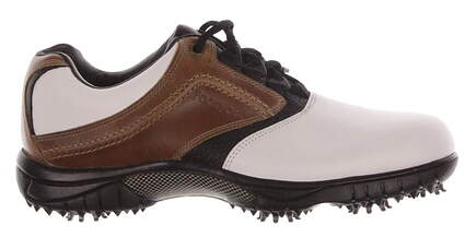 New Mens Golf Shoe Footjoy Contour Series Medium 9 White/Brown MSRP $110