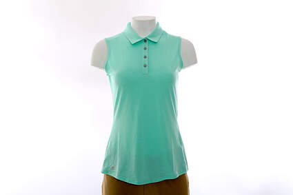 New Womens Adidas Golf Climalite Essentials Heather Sleeveless Polo Large L Green MSRP $50 AE5216