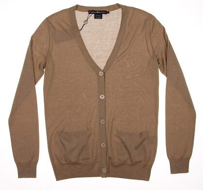 New Womens Ralph Lauren Button Up Cardigan Small S Tan MSRP $275 0162688