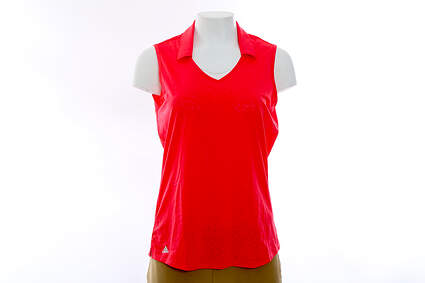 New Womens Adidas Golf Sleeveless Polo Medium M Pink MSRP $68