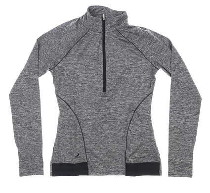New Womens Adidas Golf Advance Heathered Rangewear 1/2 Zip Pullover X-Small XS Black MSRP $70