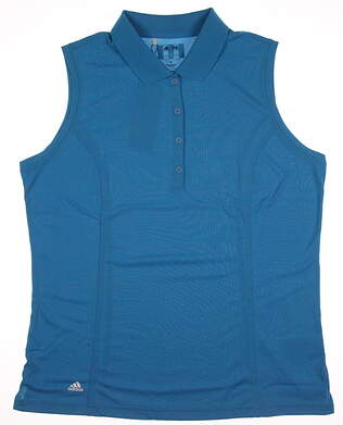 New Womens Adidas Golf Sleeveless Polo X-Large XL Blue MSRP $45