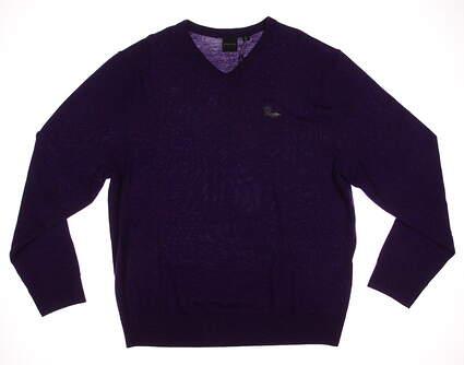 New W/ Logo Mens Dunning Golf Player Merino V-Neck Sweater X-Large XL Purple MSRP $125