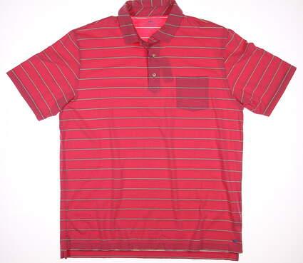 New Mens Peter Millar Hatteras Stripe Polo Medium M Pink / blue / yellow MSRP $88 MS16K72