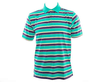 New Mens Peter Millar Golf Cyclone Stripe Stretch Jersey Polo X-Large XL Green MSRP $85