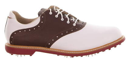 New Mens Golf Shoes Ashworth Kingston Medium 11.5 White/Brown MSRP $140 Q54232