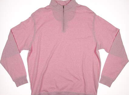 New Mens Peter Millar Heathered 1/4 Zip Interlock Pullover X-Large XL Pink MSRP $125 MS15K40