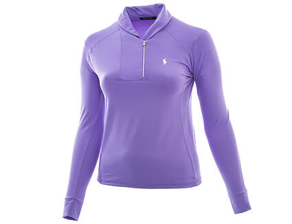New Womens Ralph Lauren Golf Shawl-Collar 1/2 Zip Pullover Medium M Purple MSRP $125