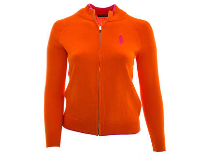 New Womens Ralph Lauren Polo Golf Full Zip Sweater Large L Orange MSRP $165 281589055006