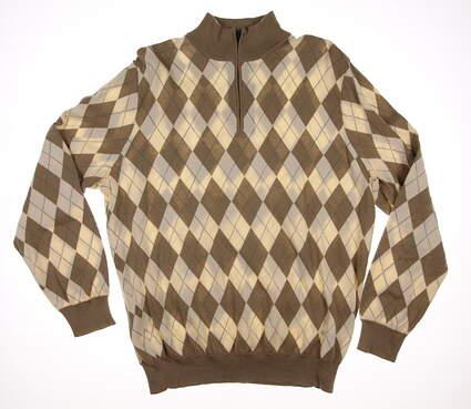 New Mens Ralph Lauren Polo Golf Cotton Argyle 1/4 Zip Sweater Large L Tan MSRP $265 781585512001