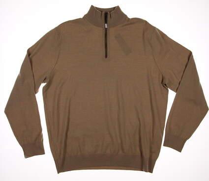 New Mens Ralph Lauren Merino Wool 1/4 Zip Sweater Large L Tan MSRP $185 781585483002