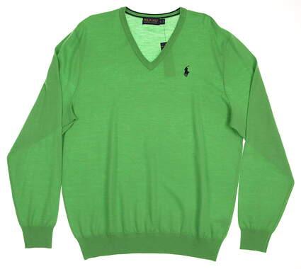 New Mens Ralph Lauren Polo Golf Merino Wool V-Neck Sweater Large L Green MSRP $155 781609169003