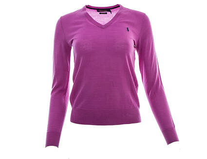 New Womens Ralph Lauren Golf Merino Wool V-Neck Sweater X-Small XS Purple MSRP $145