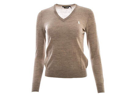 New Womens Ralph Lauren Golf Merino Wool V-Neck Sweater X-Small XS Tan MSRP $145