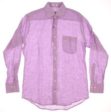 New Mens Peter Millar Linen Sport Shirt Button Up Medium M Purple (Mirage) MSRP $145 MS16W19CSL
