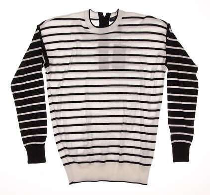 New Womens Ralph Lauren Polo Golf Sweater X-Small XS White / Black Stripe MSRP $165 281590389001