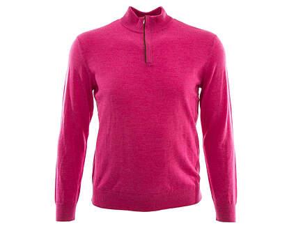 New Mens Ralph Lauren Suede-Trim Merino Wool 1/4 Zip Sweater Large L Pink MSRP $185
