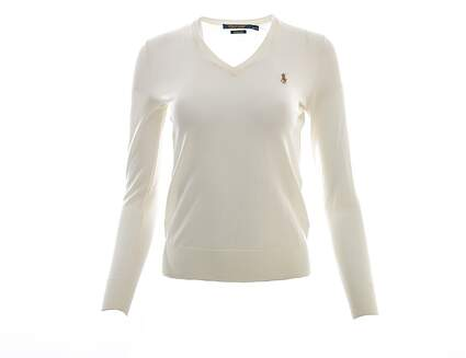 New Womens Ralph Lauren Golf Merino Wool V-Neck Sweater X-Small XS Cream MSRP $145
