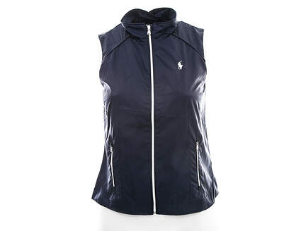 New Womens Ralph Lauren Golf Wind Vest Large L Navy Blue MSRP $125