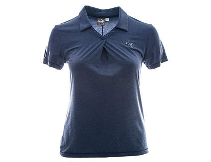 New Womens Puma Pleat Polo Large L Medieval Blue Heather MSRP $65
