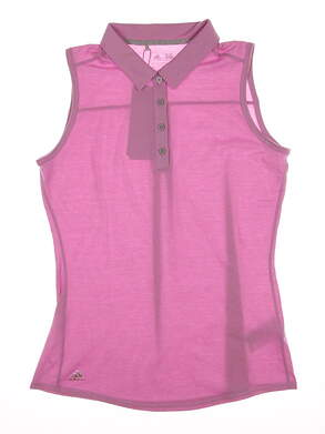 New Womens Adidas Climalite Heather Sleeveless Polo Small S Pink MSRP $50