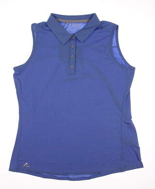 New Womens Adidas Climalite Heather Sleeveless Polo X-Large XL Blue MSRP $50