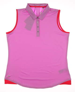 New Womens Adidas Golf Essentials 3-Stripe Sleeveless Polo X-Large XL Pink MSRP $60