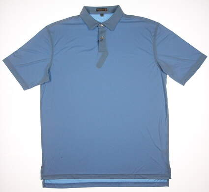 New Mens Peter Millar Golf Featherweight Polo Large L Blue MSRP $75