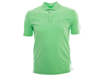 New W/ Logo Mens Peter Millar Seaside Solid Polo Medium M Green MSRP $78 MS16K70