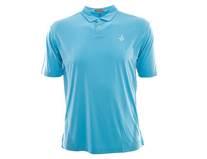 New W/ Logo Mens Peter Millar Featherweight Solid Golf Polo Large L Blue MSRP $75 MS16EK43