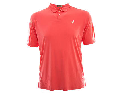 New W/ Logo Mens Peter Millar Featehrweight Golf Polo Large L Red MSRP $75 MS16EK43